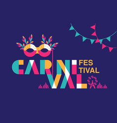 Carnival typography popular event in brazil vector