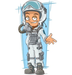 Cartoon pilot in cool white helmet vector