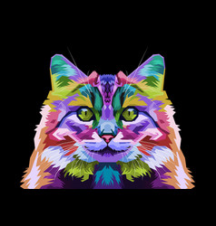 colorful norwegian forest cat on pop art style vector image
