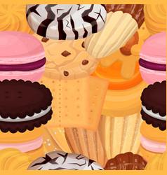 Cookies pastry pattern flat vector