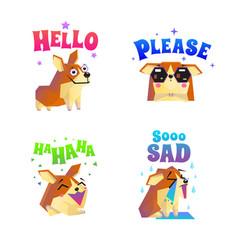 Corgi stickers emoticon set vector