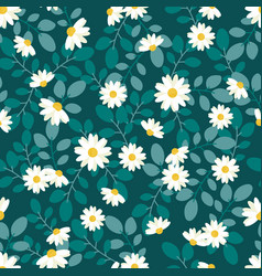 cute white daisy flower flat style seamless vector image