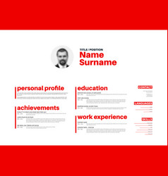 cv resume template with nice typography vector image