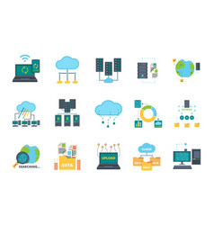 database icons server cloud management network vector image