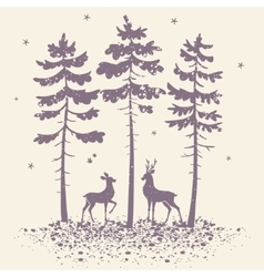 deer and forest vector image