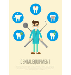 dental equipment banner with male dentist vector image