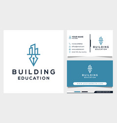Education and building logo design concept vector