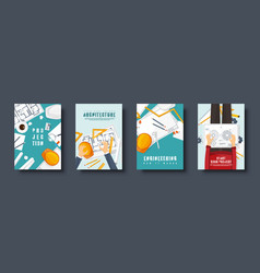 Engineering and architecture flat style covers set vector