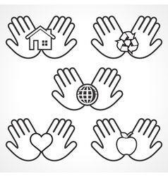 Environment icons with human hands stock ve vector