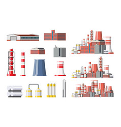 Factory icon set industrial factory power plant vector