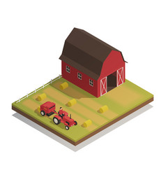 Farm hay harvesting isometric composition vector