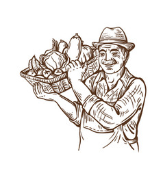 farm man with basket of vegetables in hat vector image