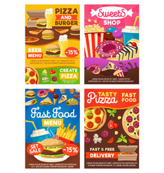 fast food burgers sandwiches snacks and desserts vector image