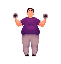 Fat man training with dumbbells doing vector image