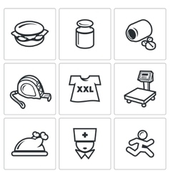 Fighting obesity organism icons set vector image