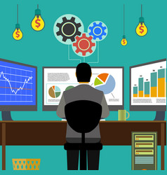 financial graphs and charts monitor computer work vector image