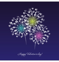 Fireworks on a dark blue sky background vector image