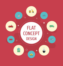 Flat icons transport bicycle carriage and other vector