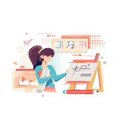 flat young woman artist engineer with drawings vector image