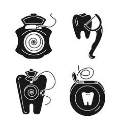 floss icon set simple style vector image