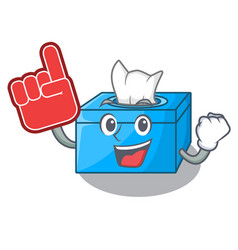 Foam finger tissue box isolated on the mascot vector