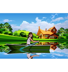 Girl in a boat on a background summer landscape vector image