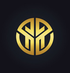 Gold abstract sign initial logo vector