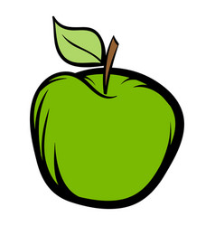 green apple icon cartoon vector image