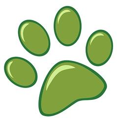 Green Paw Print vector image