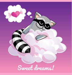 greeting card with a cartoon raccoon on the cloud vector image