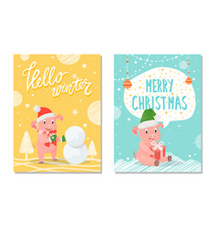 greeting hello winter and merry christmas vector image