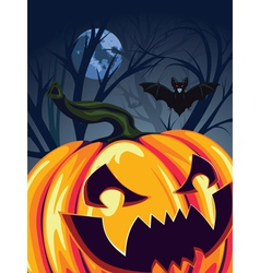 Halloween Pumpkin in the Forest2 vector image