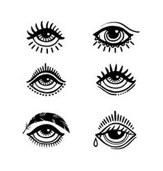 hand dran eyes vector image