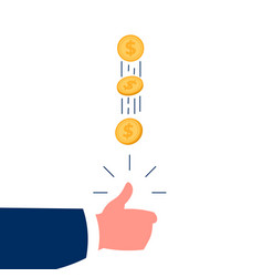 hand tossing golden coin fortune concept cartoon vector image