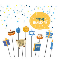 Happy hanukkah celebration with religion vector