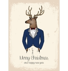Hipster reindeer hand drawn in costard vector image