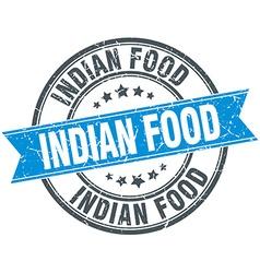 Indian food blue round grunge vintage ribbon stamp vector