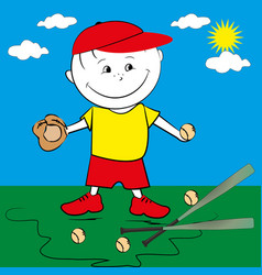 Kid playing baseball vector