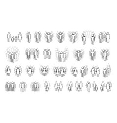 large set different people outline silhouettes vector image
