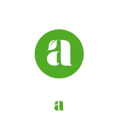 leaf monogram a letter leaf nature eco organic vector image