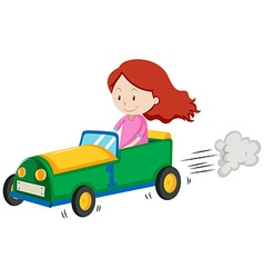 Little girl racing a car vector