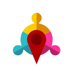 Meeting point logo template Map pointer with team vector