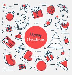 merry christmas icon set vector image