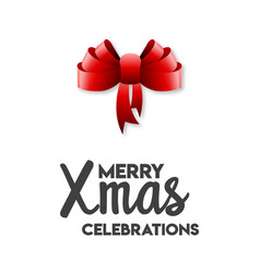 merry xmas celebrations ribbon bow vector image