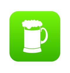 Mug of dark beer icon digital green vector