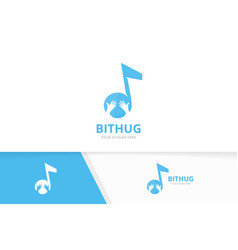note and hands logo combination music vector image