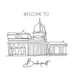 One single line drawing buda castle landmark vector