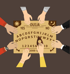 Ouija board playing a group of people communicate vector