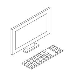 Personal computer lcd minotor and keyboard vector