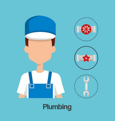 plumber with tool set vector image
